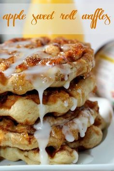 Easy Breakfast Ideas: Apple Sweet Roll Waffles.  Super easy and delicious way to #warmupyourday #ad