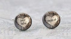 Rustic Wedding Cufflinks, Personalized Name and Wedding Date Cuff Links for the Groom, Heart on Etsy, $36.95