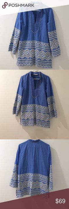 Tory Burch embroidered tunic long sleeve Tory Burch | Long sleeve Tunic top V neck Pullover style with hidden side zip | Blue with white embroidery | pre loved | good condition | Size 12 Tory Burch Tops Tunics
