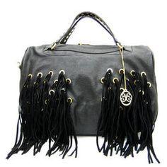 TheHoneyRoom.com: Black Designer Inspired Fringe Satchel Fashion Handbag, $48.00