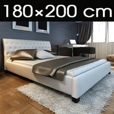 Modernes Doppelbett Polsterbett 180x200cm Bettgestell Bett Lattenrost Bettrahmen   eBay