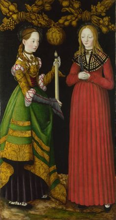 Saints Genevieve and Apollonia  1506, Lucas Cranach the Elder  The National Gallery    The red lacing appears to have been added later by an unskilled hand. Red stripes have also been applied to the Genevive's grey sleeve. It's possible the grey sleeve is preliminary shading awaiting the application of goldtones and blackwork decoration to complete the image.