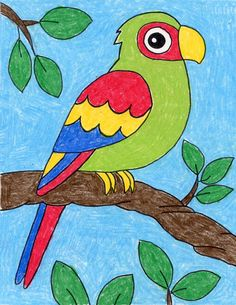 Once you learn how to draw a parrot, you can go on to finish it with any color combination that you want. The variations they come in seem to be endless. Oil Pastel Drawings Easy, Oil Pastel Art, Easy Drawings For Kids, Colorful Drawings, Bird Drawing For Kids, Basic Drawing For Kids, Painting For Kids, Crayon Drawings, Bird Drawings