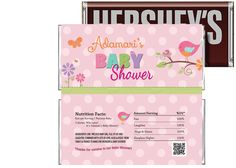 Tweet Baby Girl Baby Shower Candy Bar Wrapper $3.99