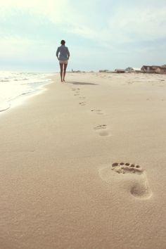 Canvas Prints Stretched Framed Fine Art Giclee Artwork For Wall Decor Walk Woman Sand Footprint Foot Ocean Footprints Beach