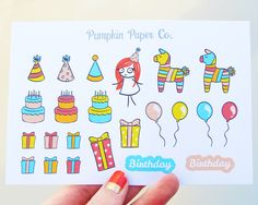 Birthday planner stickers, planner stickers, kawaii stickers, reminder planner stickers, birthday cake, 23 stickers, PPC44 by PumpkinPaperCo on Etsy https://www.etsy.com/au/listing/268597538/birthday-planner-stickers-planner