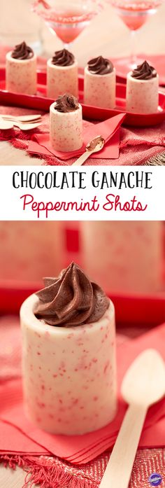 Spiked Chocolate Ganache Peppermint Shots Recipe -  Add a little touch of vodka right to these tasty desserts for the perfect after-dinner treat your friends will love. Make an edible shot glass using Candy Cane Colorburst Candy Melts Candy, then fill the glasses with a tasty vodka-infused chocolate cream for a decedent dessert that will surely become a holiday favorite.