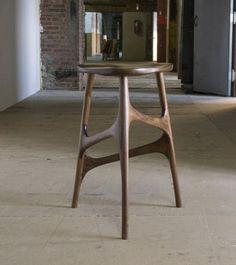 Carved walnut stool