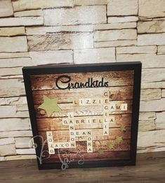 Scrabble Tile Frame for Grandparents | Etsy Scrabble Letters, Scrabble Tiles, Brown And Grey, Black And White, Frame Sizes, Wall Spaces, Grandparents, Shadow Box, Natural Wood