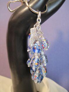 Blue Glass Bead Purse Charm / Key Chain by FoxyFundanglesByCori, $10.00