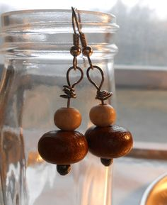 Earrings  Large Wood Wooden Beads  Dangle Drop by TheYellowHouse39