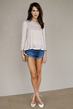 feminine top + ripped blue jeans. inspiration
