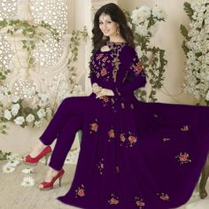 Buy Purple Embroidered Work Georgette Suit online India, Best Prices, Reviews - Peachmode