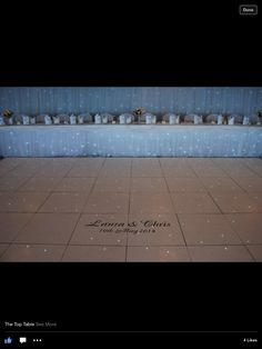 Our top table with sparkle backdrop and table skirt. Matching personalised led dance floor