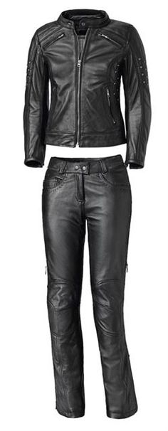 hot black leather motorcycle riding outfit from Held USA
