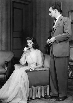 Katherine Hepburn and Joseph Cotten in The Philadelphia Story on stage in 1939. Later, when the play became a movie, his part went to Cary Grant.
