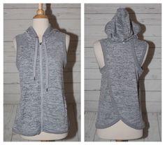 d574cdd8bdf70 90 Degree by Reflex Womens XS Gray Zip Front Yoga Hoodie Sleeveless Slit  Back