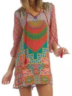 Shop Multicolor Geometric Pattern 3/4 Sleeve Tie Front Shift Dress from choies.com .Free shipping Worldwide.$17.99