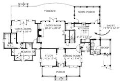 Historic Southern House Plan 73721 Level One.  Very cool if I wanted a 2 story house... The stoop will have to have a breezeway to a detached garage, though.