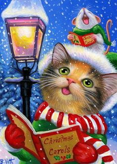 Calico-kitten-cat-mouse-Christmas-caroling-lamp-snow-original-aceo-painting-art