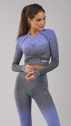 The Gymshark Ombre Seamless Crop Top comes complete with thumbholes and printed logo detailing to the hem and upper back. Coming soon in Indigo and Black.