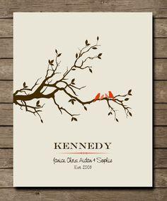 Personalized Wedding Gift Tree with birdsCustom by WordsWorkPrints, $20.00