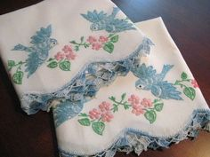 Vintage Pair Embroidered & Crochet Pillowcases Blue Birds Pink Flowers New