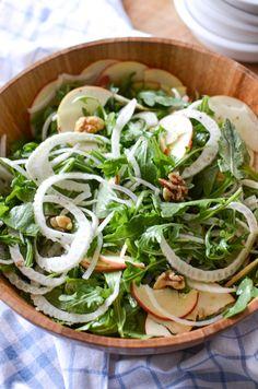 Fennel Apple Salad with Walnuts & Arugula | simplywhisked.com