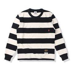 스트라이프 패턴의포켓 티셔츠