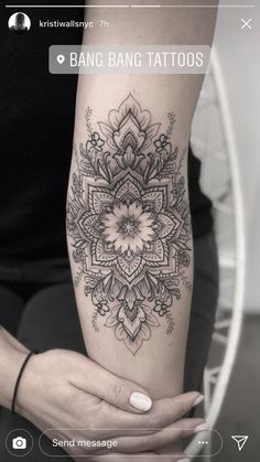 50 of the Most Beautiful Mandala Tattoo Designs for Your Body & Soul - KickAss Things Hand Tattoos, Elbow Tattoos, Sexy Tattoos, Body Art Tattoos, Tattoos For Women, Cool Tattoos, Lace Sleeve Tattoos, Tatoos, White Tattoos