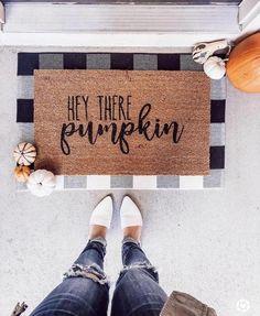 Hey There Pumpkin Doormat / Fall Doormat / Thanksgiving Decor / Front Porch Decor / Pumpkin Decor / Custom Doormat / Door Mat / Farmhouse Fall Home Decor, Autumn Home, Front Porch Fall Decor, Fall Porches, Modern Fall Decor, Fall Decor Outdoor, Fal Decor, Fall Apartment Decor, Fall Kitchen Decor