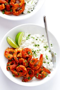 Easy Peruvian Shrimp by gimmesomeovoen: This recipe takes less than 15 minutes to make, and it's full of delicious bold flavors... #Shrimp #Peruvian #Quick #Healthy