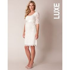 Round+Neck+Ivory+Lace+Maternity+Wedding+Dress