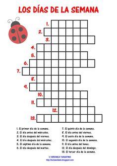 Resultado de imagem para días de la semana y meses del año español crucigrama