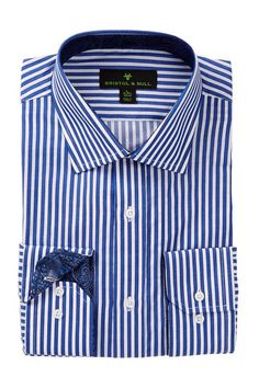 Bristol & Bull Long Sleeve Regular Fit Stripe Dress Shirt