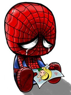 Spiderman 17 Adorably Emo Paintings Of Your Favorite Pop Culture Icons Gwen Stacy, Stan Lee, Heros Comics, Marvel Dc Comics, Sad Comics, Hero Marvel, Chibi, Comic Style, Comic Art