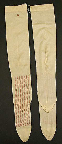Stockings Date: century Culture: French Medium: silk Clothing Tags, Antique Clothing, Historical Clothing, Dita Von Teese, Body Hugging Dress, Vintage Stockings, Period Outfit, Tights Outfit, Long Underwear
