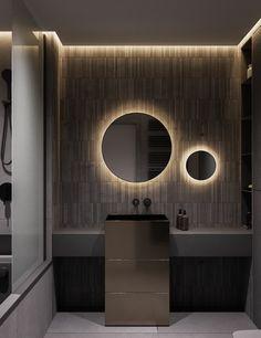 2 Modern Interiors With Rich Blue Decor Ideas – Bathroom Inspiration Bathroom Design Luxury, Modern Bathroom Design, Washroom Design, Bad Inspiration, Bathroom Inspiration, Tadelakt, Shower Cubicles, Small Bathroom, Bathroom Ideas