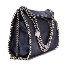 Stella McCartney Falabella Mini Fold-Over Tote ($960) ❤ liked on Polyvore featuring bags, handbags, tote bags, stella mccartney handbags, purse tote, hand bags, fold over tote and blue tote