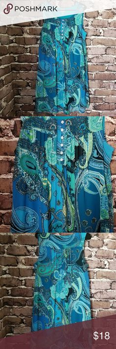 """Rabbit Rabbit Rabbit Designs Sleeveless Dress Sz14 In excellent preowned condition, Size 14 No flaws! Blue multicolored sleeveless dress  Paisley print  100% Polyester Laying flat underarm to underarm 19"""" Length 38"""" O47 Rabbit Rabbit Rabbit Dresses Midi"""
