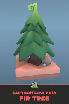 Fir tree low poly Cute and unique design in a swirly, cartoony style, textured with gradients. Tree Illustration, Art Illustrations, Cartoon Trees, Low Poly Games, Game Textures, Face Anatomy, 3d Tree, Isometric Design, Modelos 3d