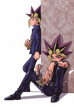 There was a past Yugi he died though so Atem had to wait for him to be born… Yu Gi Oh, Me Me Me Anime, Anime Love, Anime Guys, Yugioh Yami, Bd Comics, Animation, Anime Shows, Kids Cards