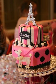 Pink Paris cake with white poodle.