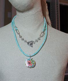 Bahama breezestextile necklace by OhSoFabu on Etsy, $42.00