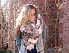 Heather Skies Plaid Blanket Scarf Winter by BeautifullBoundaries