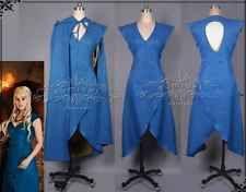 Game of Thrones Daenerys Targaryen Blue Dress Cosplay Costume + cosplay wig