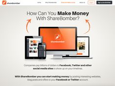 With ShareBomber you can start making money by posting interesting websites, blog posts and offers to your Facebook or Twitter account.