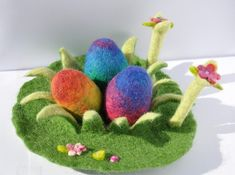 Felted Easter Decoration Egg Flower Grass Garden Waldorf Play Mat Spring Season Table Play Mat Playscape Landscape Handmade Wet Felted by FeltedbyBetti on Etsy