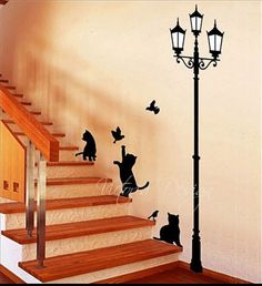 CATS LAMP decal sticker wall logo wallpaper by victorialogodesign