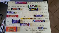Candy/chocolate bar letter I made for my father in law for fathers day. With aussie choccies and lollies! Birthday Wishes For Mother, Mum Birthday Gift, Birthday Cards, Birthday Ideas, Diy Father's Day Gifts, Father's Day Diy, Gifts For Mum, Chocolate Bar Card, Chocolate Letters